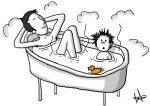 La hora del baño le toca a papá
